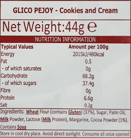 Pejoy Cookie & Cream Info